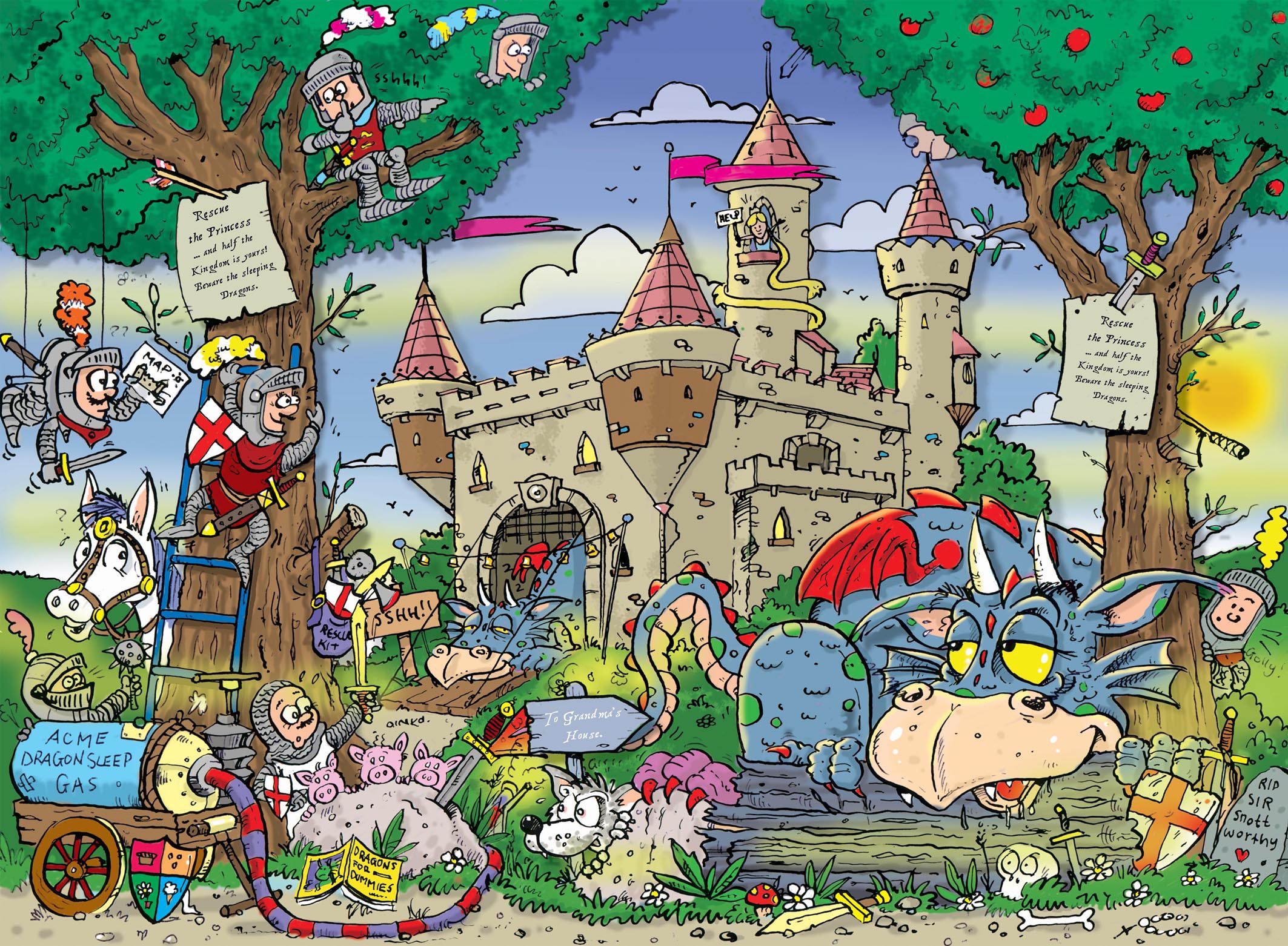Buy childrens knights and dragons murals for per sq for Dragon mural wallpaper