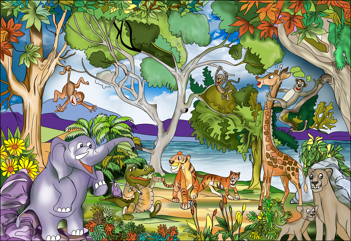 Buy childrens jungle murals for per sq m2 kids for Childrens mural wallpaper