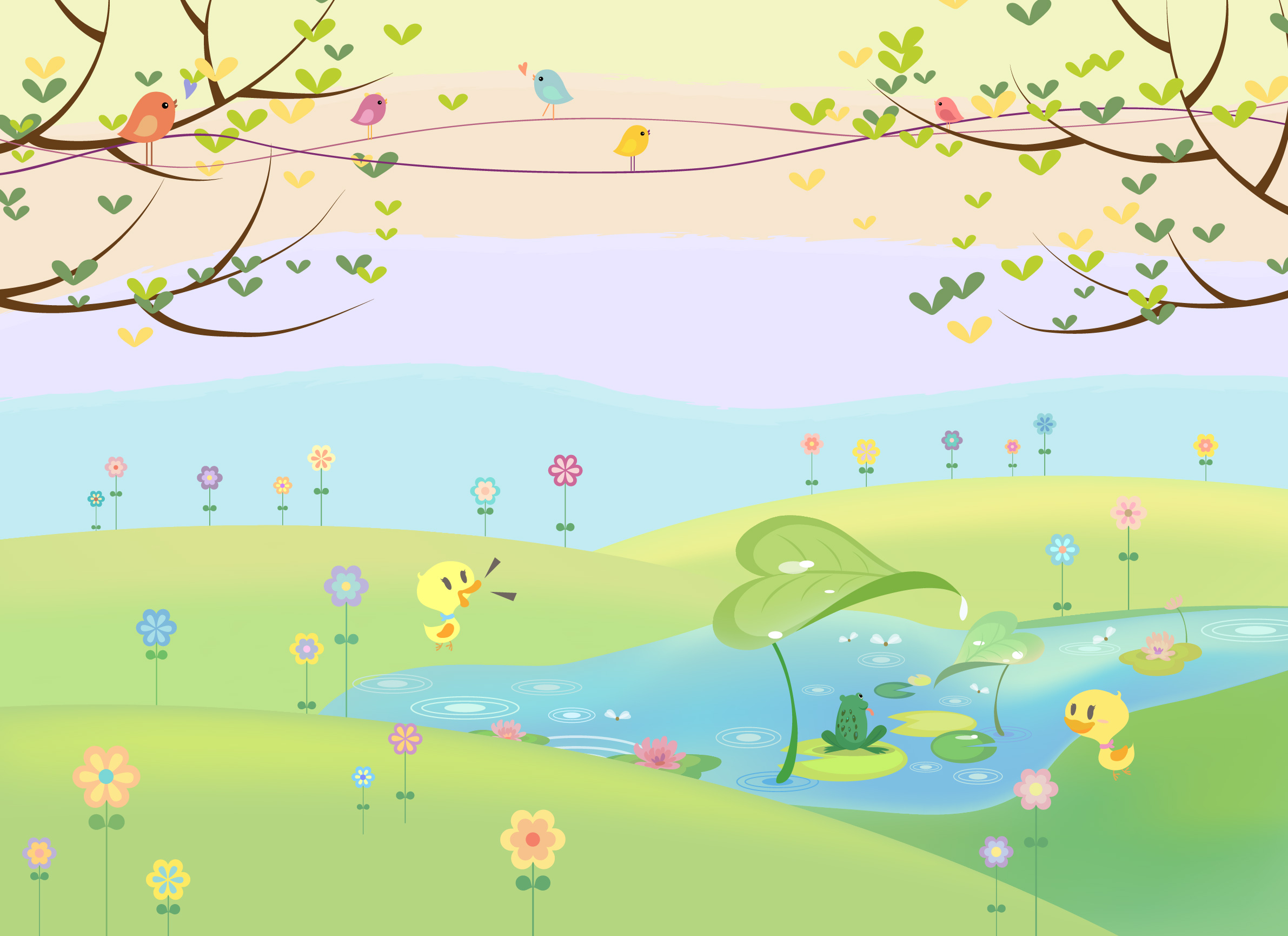 Buy childrens flowers and meadow murals kids wallpaper for Childrens mural wallpaper