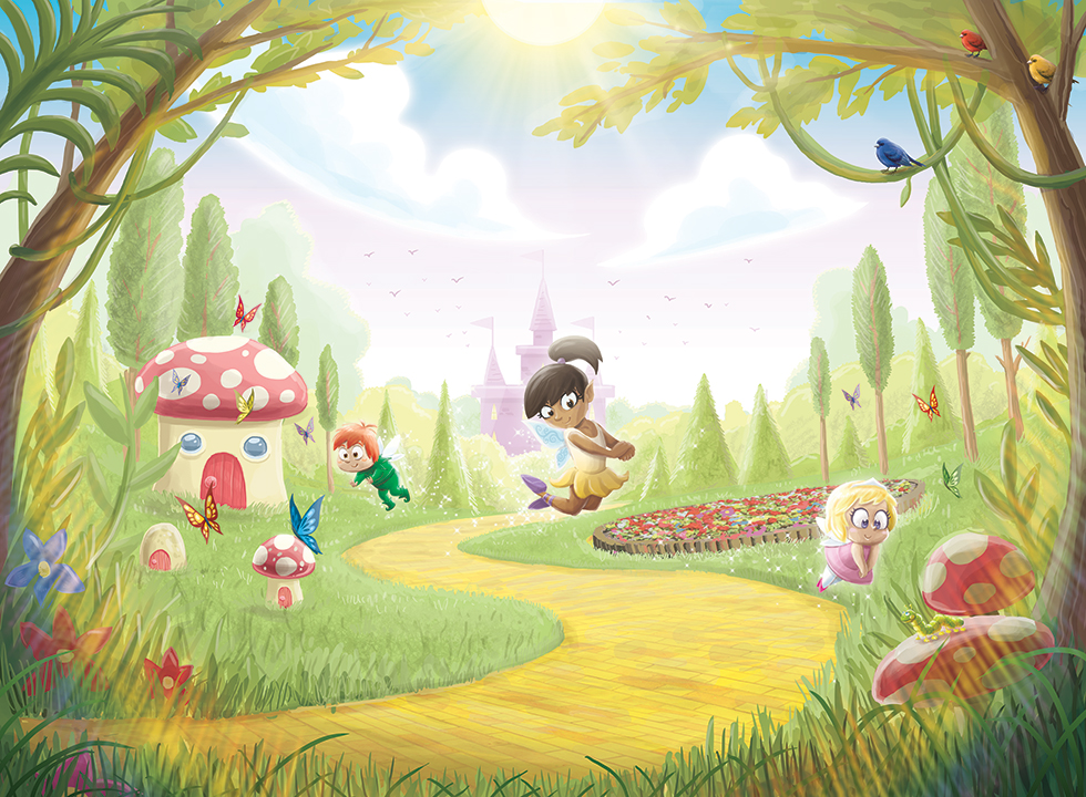 Buy childrens thumbelina murals for per sq m2 for Fairy forest mural