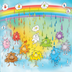 Buy Childrens Rainbow and raindrops murals