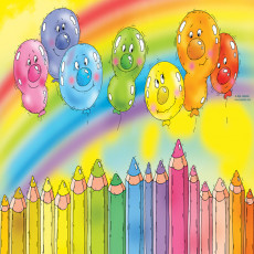 Buy Childrens Balloons and pencils murals