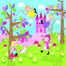 Buy Childrens Pink princess and castle murals